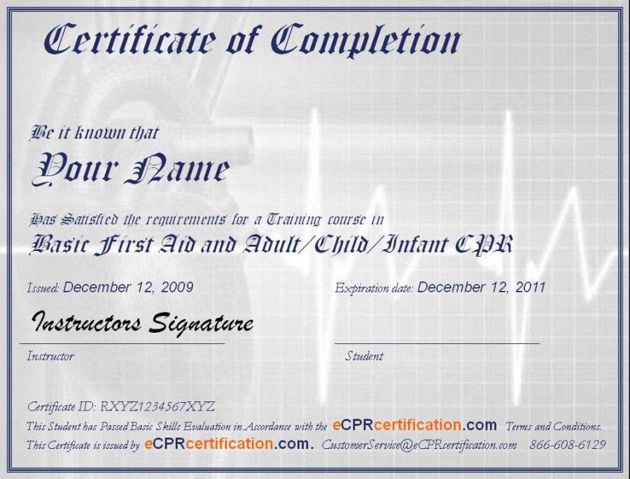 Online CPR First Aid Certification Certificate Sample – First Aid Certificate Template