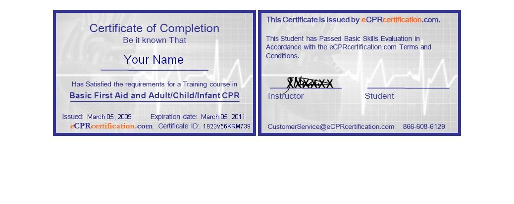 Online cpr first aid certification certificate sample yadclub Choice Image